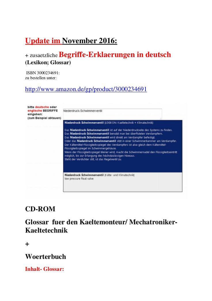 Kaelteanlagenbau: deutsch-englisch Uebersetzungen + Fachwoerter-Erklaerungen