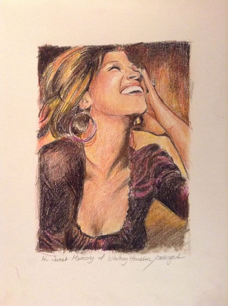 In sweet memory of Whitney Houston , in colorpencils