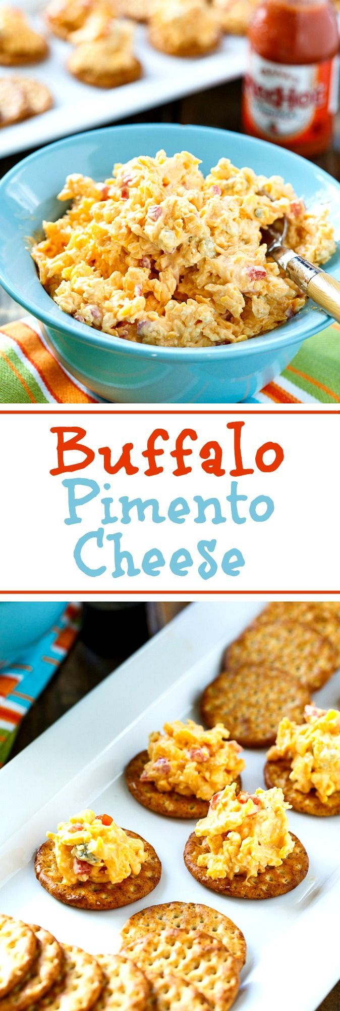 Buffalo Pimento Cheese with hot sauce and blue cheese crumbles.