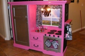 I love this idea from an old entertainment center. Looks like Ray has a project! LOL