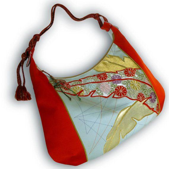 Japanese Vintage Obi Over Size Hobo Bag Tomato Red by Kazuenxx