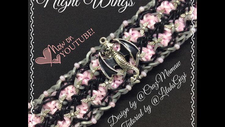 NEW Rainbow Loom NIGHT WINGS Bracelet (6 Pin Bar) - YouTube