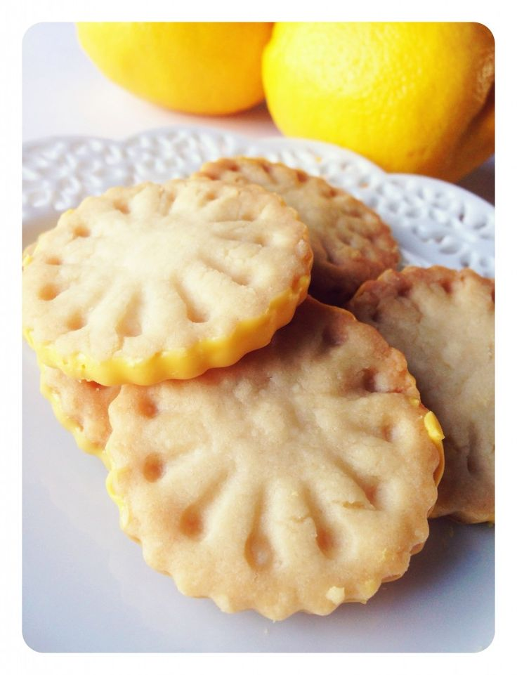 Girl Scout Lemonades. Shortbread cookie that have been dipped into lemon icing.