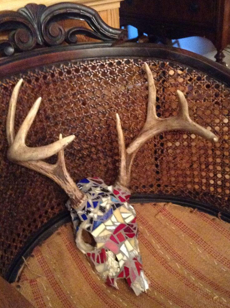 Faded American Flag Mosaic Deer Skull Painted Deer