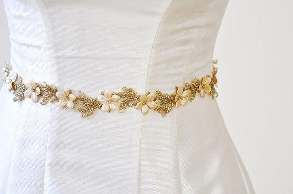 GOLD BELT Bridal Gold Belt wedding GOLD  Flower by AdeleInWhite