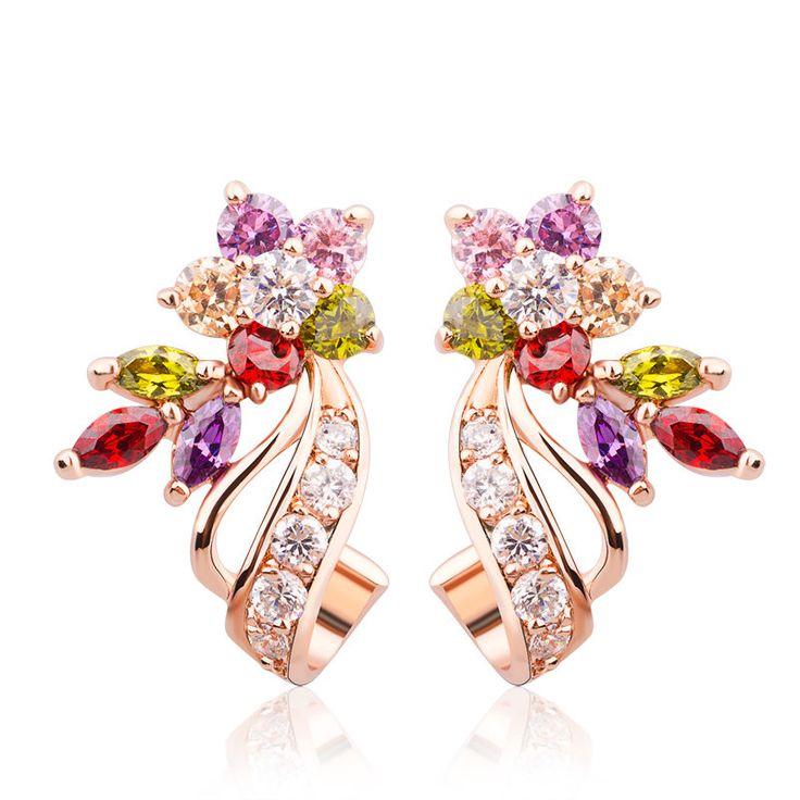 Orecchini floreali, con cristalli multicolore in oro placcato, Per donne di classe reagazze, originali gioielli per feste e anniversari di OceanBijoux su Etsy