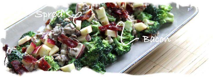 Broccolisalat m. æbler, kerner og sprød bacon