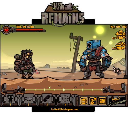 "This is a game mockup I'm working on to prospect the idea of a post apocalyptic Oregon Trail. The game's name is ""What Remains"". (based on my favourite OST from Fallout 3) Something in the lines of Darkest Dungeon meets Fallout with a lot of text and..."