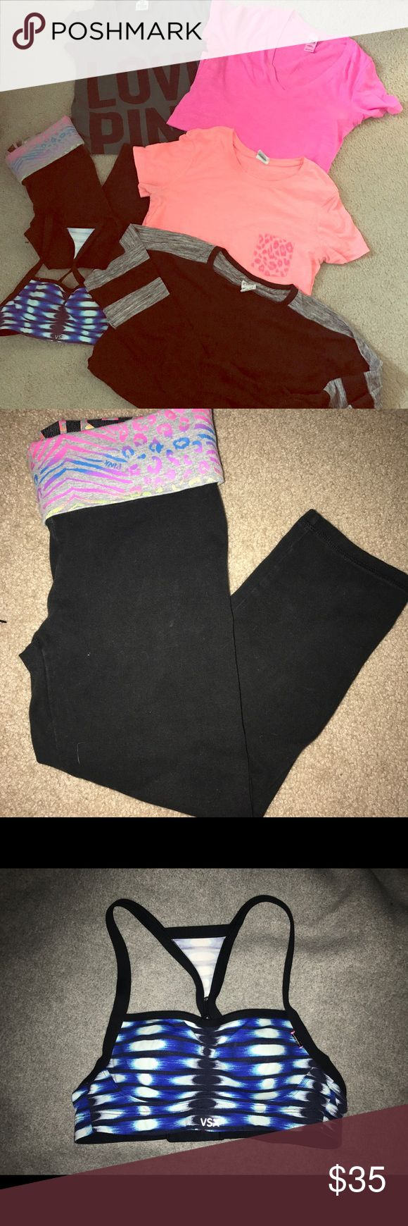 PINK By VS Bundle❣️ PINK Clothing Lot! Green VNeck--size small! Bright pink VNeck--size small! Pink pocket tee--size xs! Blue sports bra--size 32a Yoga capris--Sz XS Black Longsleeve--size xs   ALL PINK ITEMS! In perfect condition! Price is for the whole bundle!  Every purchase comes with a free item! PINK Victoria's Secret Tops Tees - Short Sleeve
