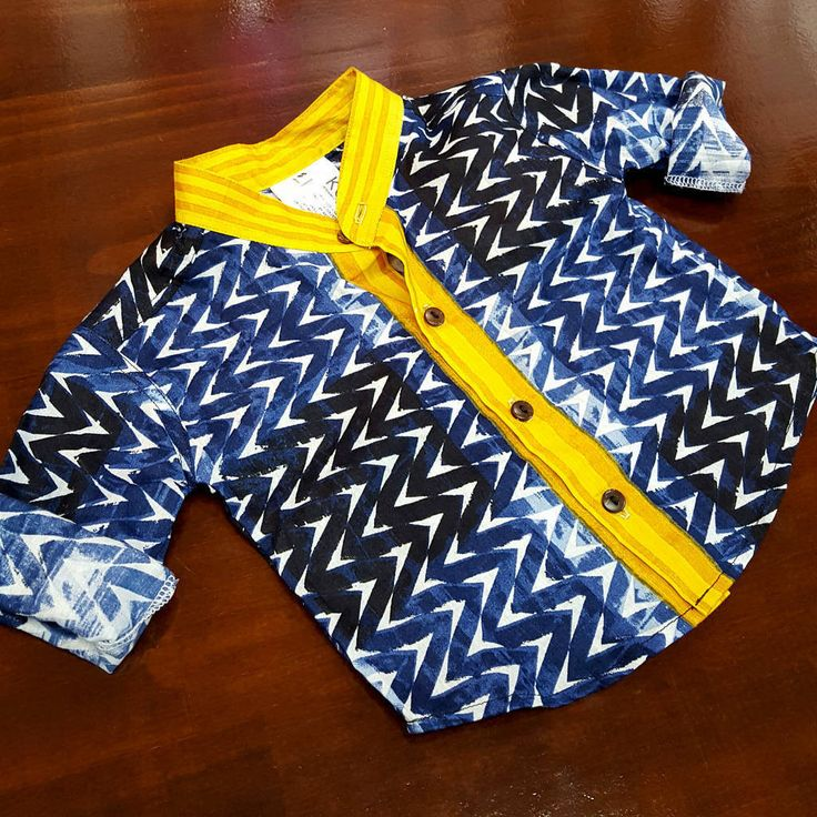 boy's mandarin collar button up shirt in navy geometric print with contrasting yellow features. Baby boys to tween boy sizes.  Shop boy's coastal styles > Online or visit us in Noosa!