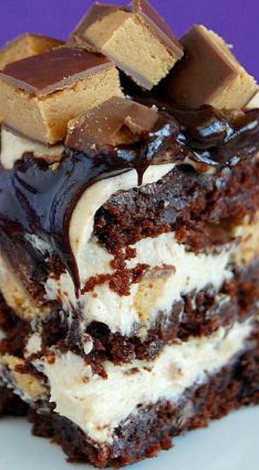 Peanut Butter Cup Brownie Torte