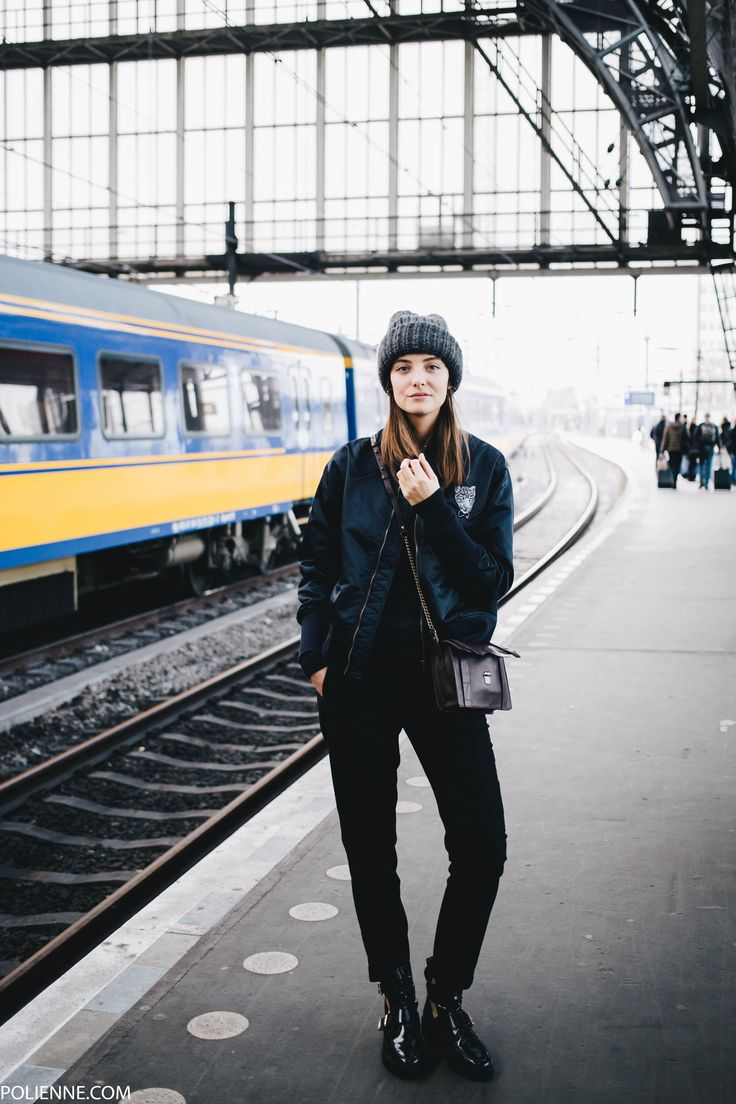 POLIENNE | wearing an AMATOR bomber jacket, H&M knit, WE FASHION trousers, RIVER ISLAND boots, COMPTOIR DES COTONNIERS bag in Amsterdam