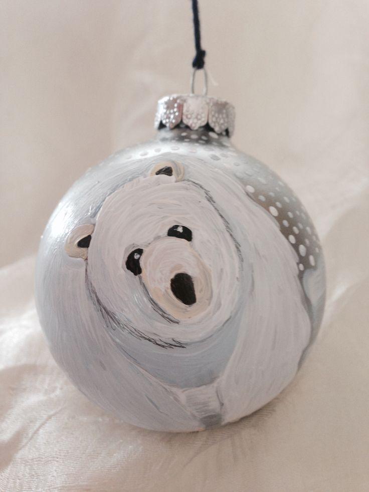 Polar bear ornament handpainted by Melissa McNamara