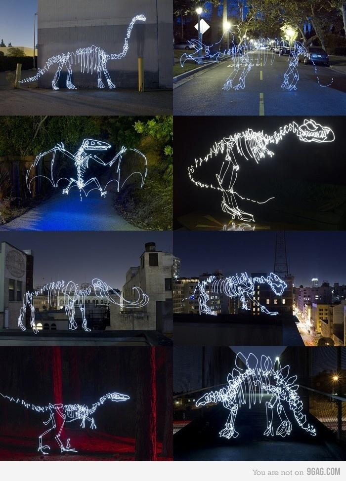 light painting dinosaurs!