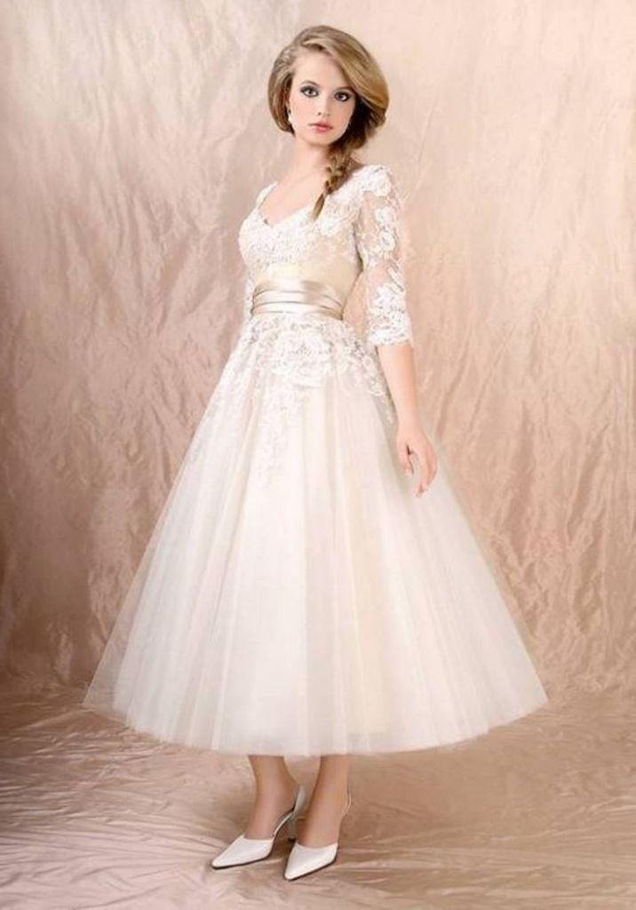 bridal tea length bridal dress with sleeves