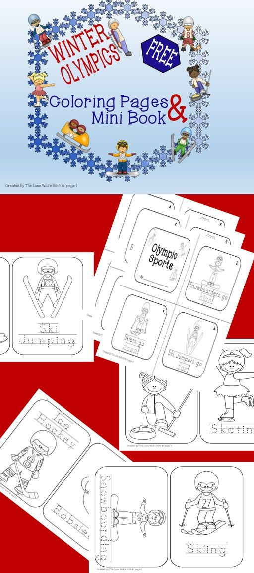 Enjoy this FREE pack of Winter Olympics Coloring Pages {with traceable words} and a Mini Book!