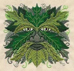 "Embroidery Designs at Urban Threads - Green Man (#UT1590) 4.36""w x 4.28""h 30 December 2010"