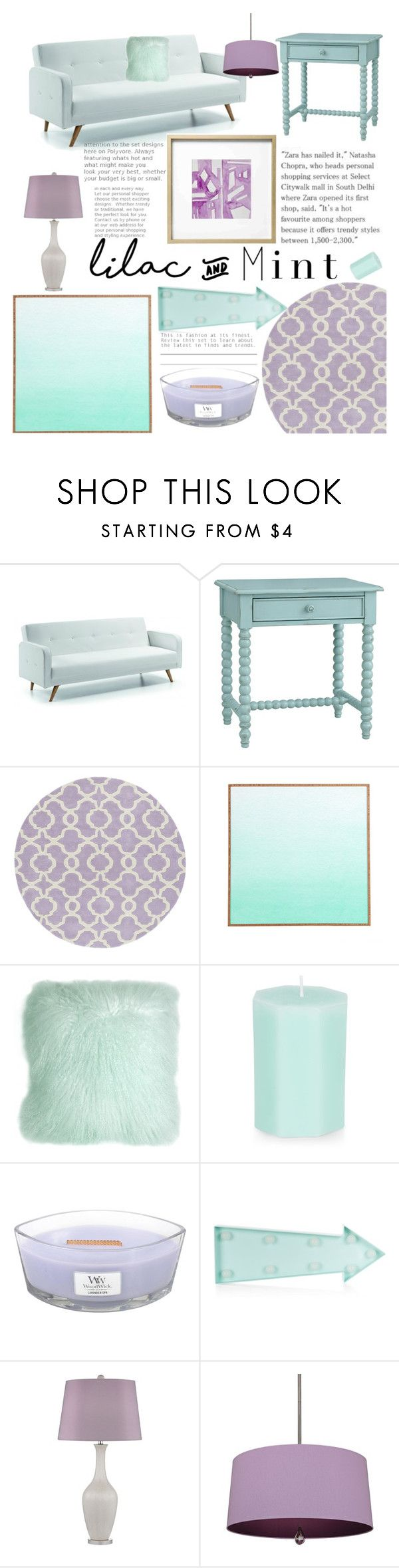 """Lilac & Mint"" by ashstylist101 on Polyvore featuring interior, interiors, interior design, home, home decor, interior decorating, Redford House, Pillow Decor, New Look and WoodWick"