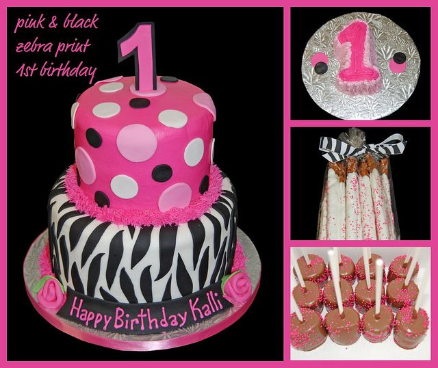 Pink and black zebra print 1st Birthday cake, smash cake and sweets by Simply Sweets, via Flickr