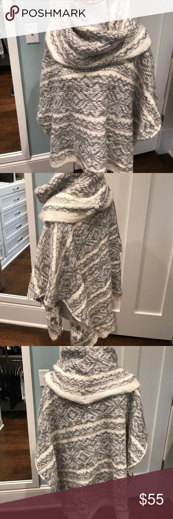 Spectacular, sweater cape with cowl neck. Grey and cream sweater cape. Acrylic, wool and polyester. Very soft and drapes beautifully. Karlie Jackets & Coats Capes