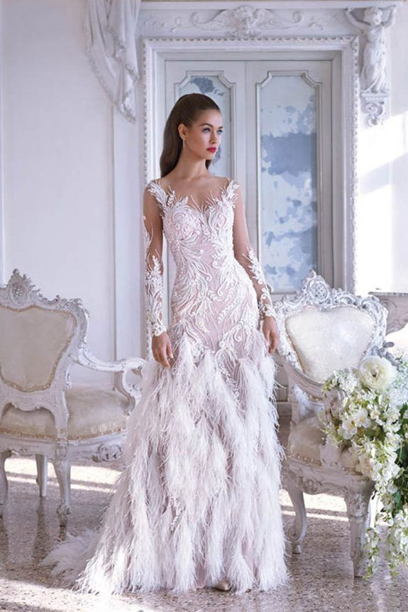 Style DP382 – ESTELLE Decadent lace and feathers are the focal point ...