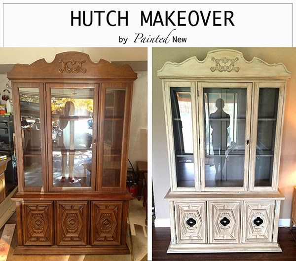 China cabinet/ hutch makeover with chalk paint (aubusson blue, antique white, cocoa), dry brushing, and Annie Sloan clear wax