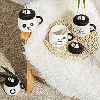 Keramik tasse Geschenke-Panda 3D Geburtstag Weihnachtsgeschenk Kaffee Tee Tassen mit Deckel und Löffel für besondere Freunde, Mutter, Mädchen, Kinder Panda Eyes