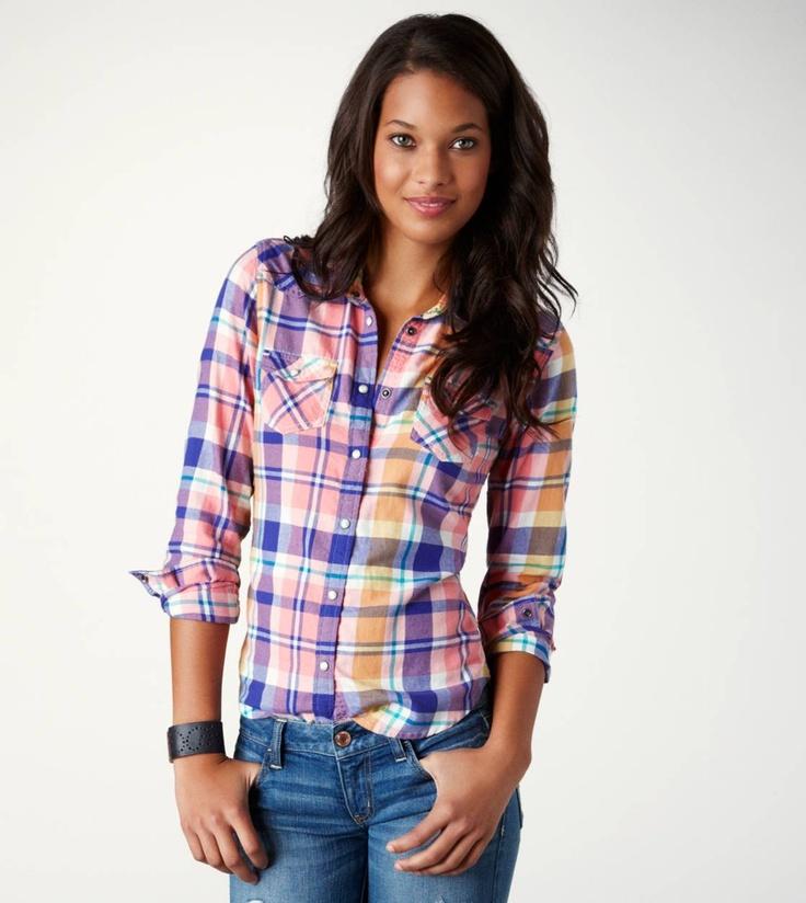 AE Plaid Flannel Western Shirt