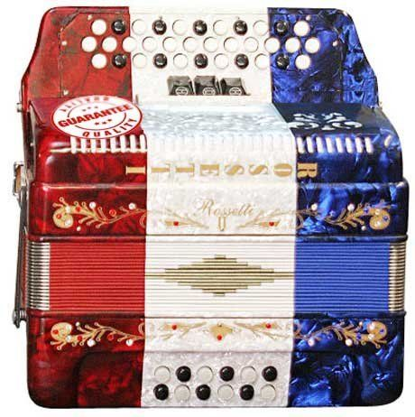 ROSSETTI 34 BUTTON ACCORDION 12 BASS 3 SWITCHES GCF MEXICAN FLAG by Rossetti. $429.95. The 3 Row 3-Switches, 34 treble 12 bass Diatonic button accordion. The Switches offer a wet tone or dry tone. This Button accordion features Italian Style decorations and pearlescent colors. The bellows are 20 fold in size for bigger sound and have sheepskin corners for longer life. There are single straps hooks on each side of the accordion with plenty of room for the two extra long leather...
