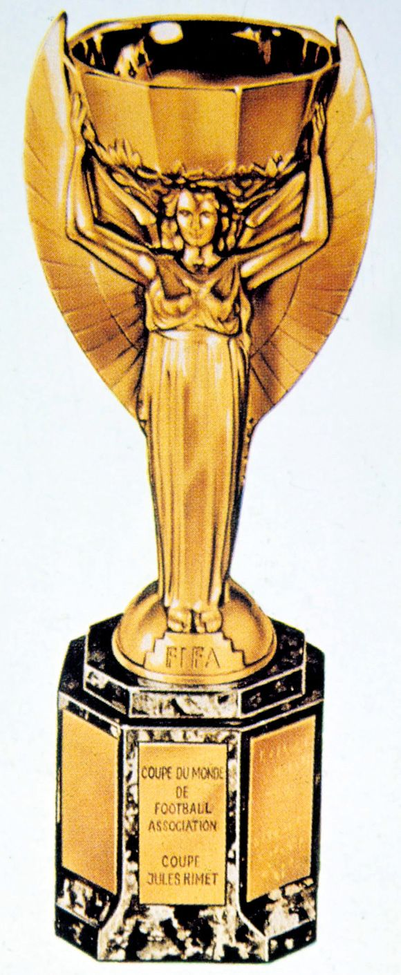 The Jules Rimet trophy - Retired to Brazil after win of third cup in 1970.