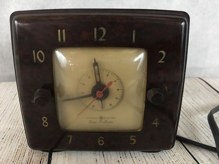 General Electric Tune-A-Larm 8H70 Brown Bakelite 1950 Household Timer Alarm