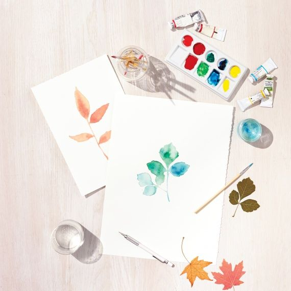 Really pretty watercolor leaf project. If yours turn out this good, let us know!