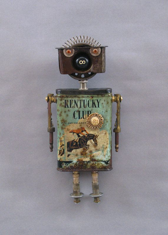 Assemblage Metal Art Robot Sculpture  by CastOfCharacters23
