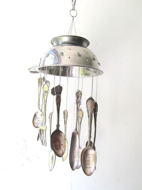 Wartime Recipes Wind Chime Hand Stamped Upcycled Spoons by nemeton. Hear them…
