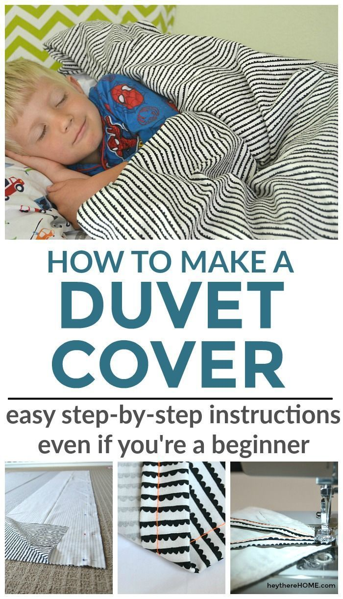 Easy step-by-step sewing tutorial to make your own twin duvet cover for your kid's bedroom. Can be easily modified to make a larger size duvet cover too. via @heytherehome
