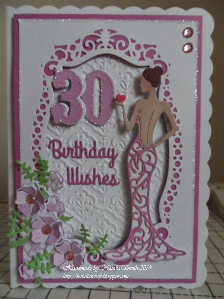 Hello crafters, I made this card for a friend 30th birthday. For this card I used tattered lace Olivia die and coloured with promarkers....