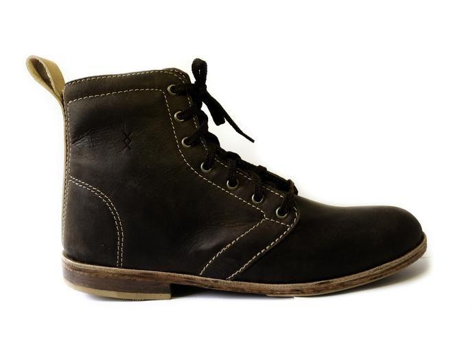 100% handmade leather men's shoes High-top - Bark Brown colour  SIXKINGS Viking range