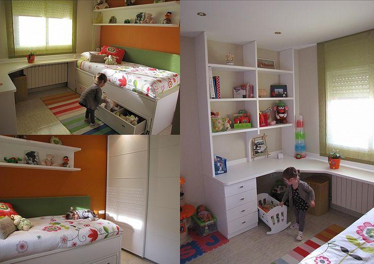 Esta es la habitaci n de queralt hemos aprobechado la for Camas en altura juveniles