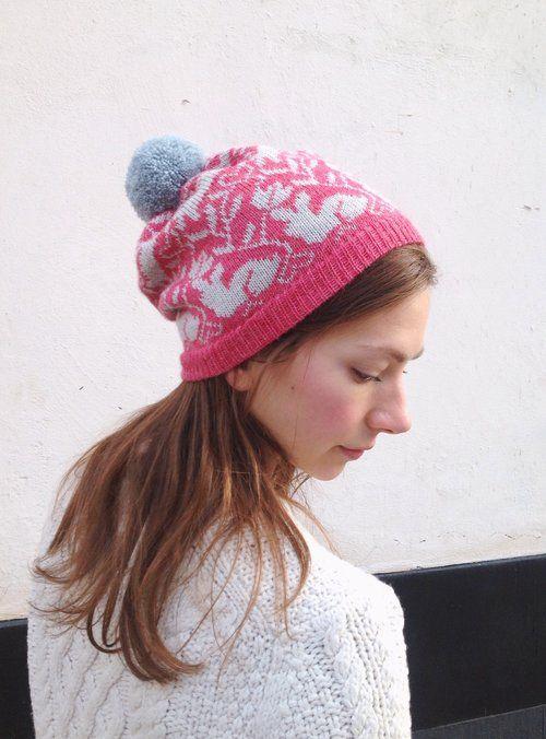 Kutova KiKa knitted beanie Lupuna with a cute bunny pattern/ 100 % alpaca/ Handmade by KIKa/ www.kutovakika.com