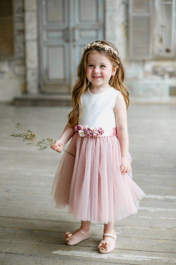 dc9e9cbb450e Flower girl dress, Dusty pink Flower girl dress, Flower sash, sash dress,