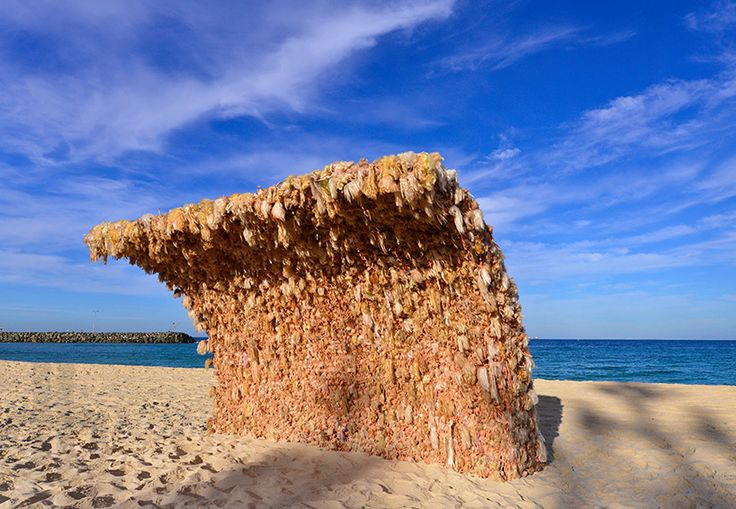 wave 1 built from over 3,000 barbies by annette thas at cottesloe beach, perth, australia for sculpture by the sea