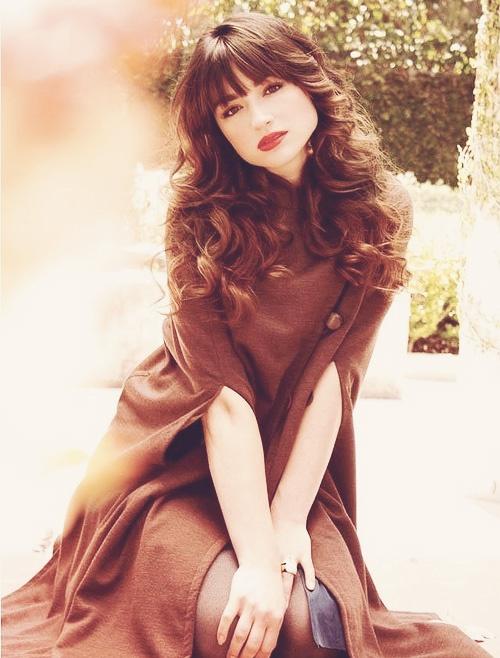 brown coat long curly brown hair  beautiful!!