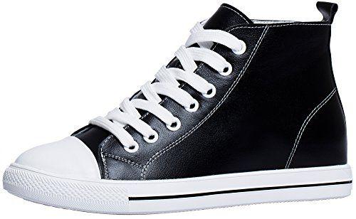SHENBO Women High Top Black Fashion Sneakers (US 6.5 (EUR 37))