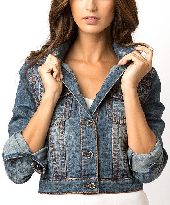 Blue Leopard Jackie Denim Jacket