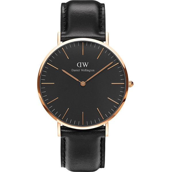 DANIEL WELLINGTON Classic Sheffield rose gold watch ($195) ❤ liked on Polyvore featuring jewelry, watches, rose gold jewellery, red gold jewelry, pink gold jewelry, black dial watches and leather-strap watches