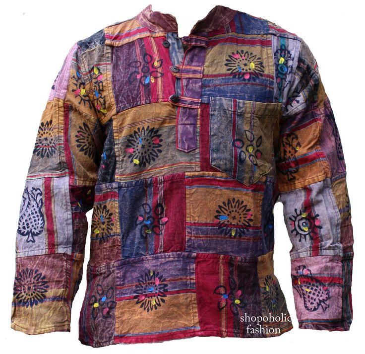 Thick Cotton Stonewashed Patchwork Heavy Grandad Shirt MEN Hippy Boho Casual TOP   eBay