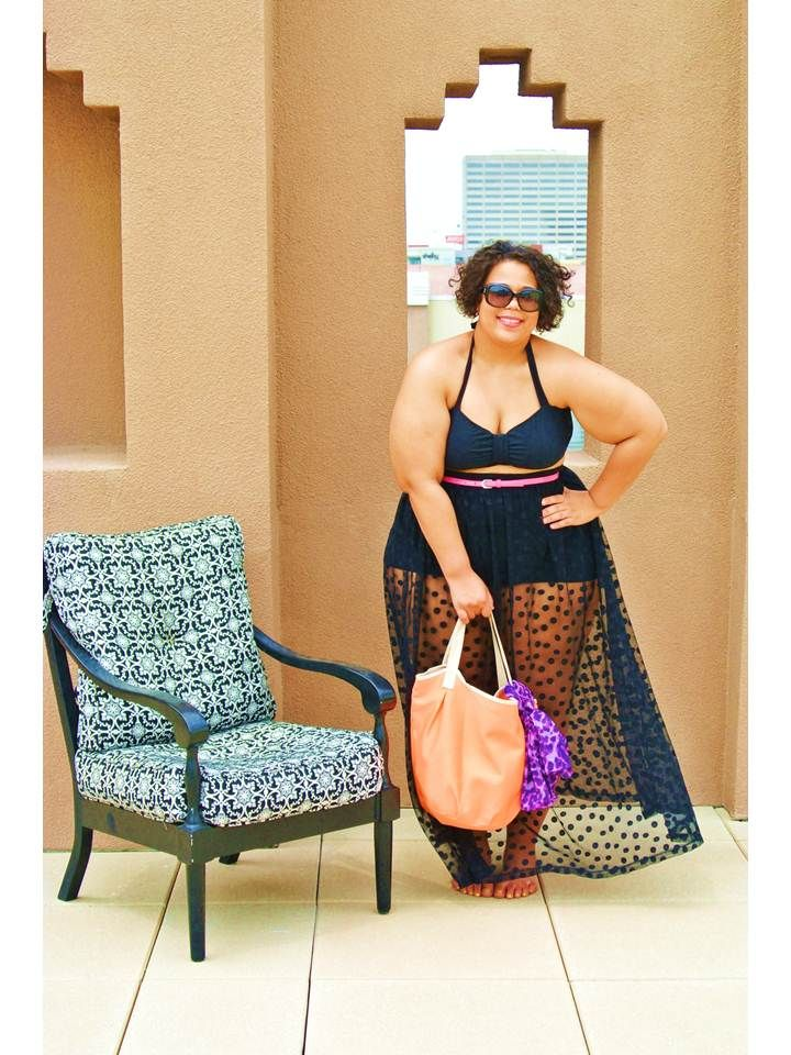 My friend Chastity rockin the old school bikini with this fab sheer polka dot skirt coverup ..... I need this in my summer wardrobe Chas!