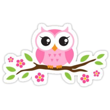 búhos animados imagenes | Cute pink cartoon baby owl sitting on a branch with leaves and flowers