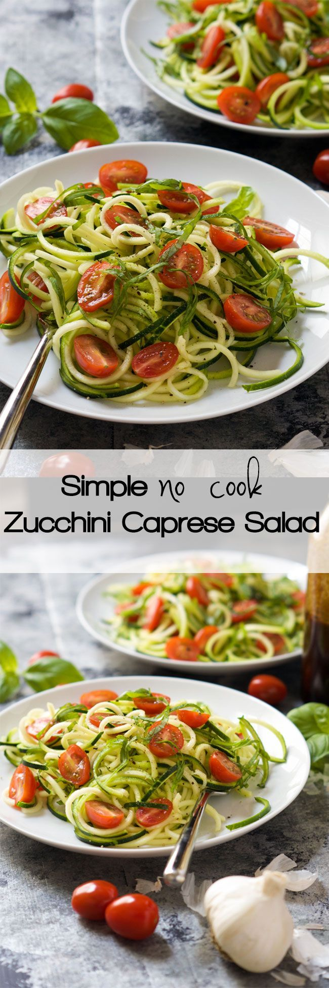 Raw Cold Caprese Salad Recipe | easy, zucchini, zoodles, how to make, dressing, healthy, balsamic, tomato, best, simple, make ahead, spiralized, fresh, summer,