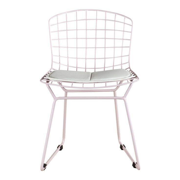 Kinderstoel Vintage roze met wit kussen